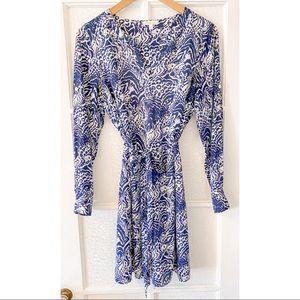 Shoshanna Silk Long Sleeve Mini Dress Blue White 6